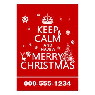 Guarde la calma y tenga Felices Navidad (color del Tarjetas De Visita Grandes