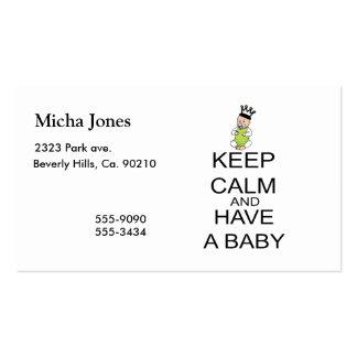 Guarde la calma y tenga un bebé tarjetas de visita
