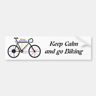 Guarde la calma y vaya a Biking, con palabras de m Pegatina Para Coche