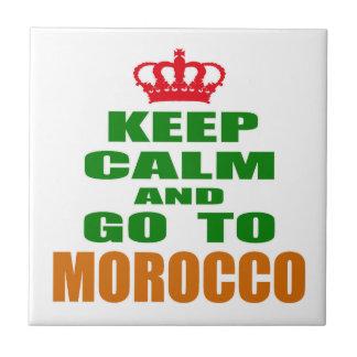 Guarde la calma y vaya a Marruecos Azulejo Cuadrado Pequeño