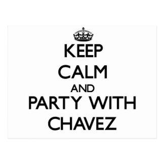Guarde la calma y vaya de fiesta con Chavez Tarjetas Postales