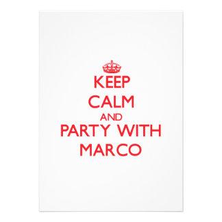 Guarde la calma y vaya de fiesta con Marco Comunicados