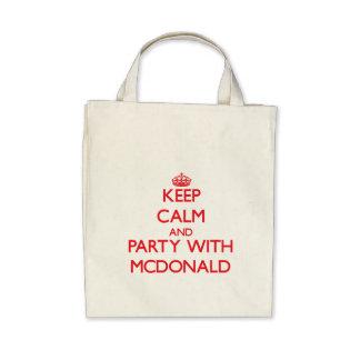 Guarde la calma y vaya de fiesta con Mcdonald Bolsa Lienzo