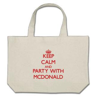 Guarde la calma y vaya de fiesta con Mcdonald Bolsas De Mano