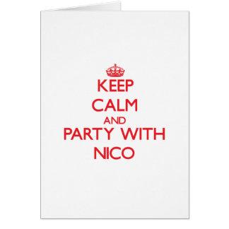 Guarde la calma y vaya de fiesta con Nico Tarjetas