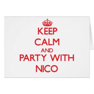 Guarde la calma y vaya de fiesta con Nico Tarjeta De Felicitación