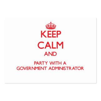 Guarde la calma y vaya de fiesta con un gobierno A Tarjetas De Visita Grandes