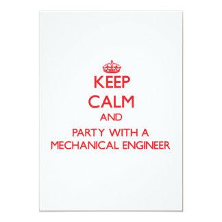 Guarde la calma y vaya de fiesta con un ingeniero invitación 12,7 x 17,8 cm