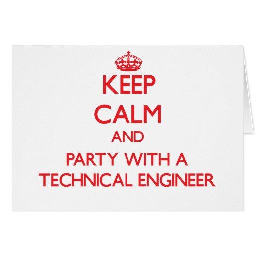 Guarde la calma y vaya de fiesta con un ingeniero  tarjeton