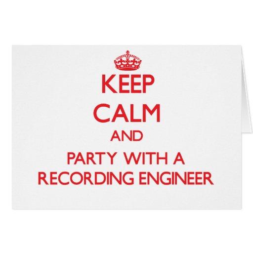 Guarde la calma y vaya de fiesta con un ingeniero  tarjetón