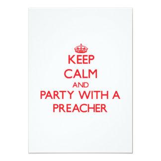 Guarde la calma y vaya de fiesta con un predicador invitación 12,7 x 17,8 cm