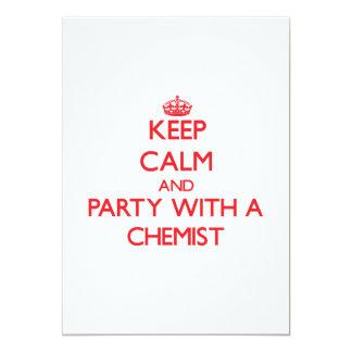 Guarde la calma y vaya de fiesta con un químico invitaciones personalizada
