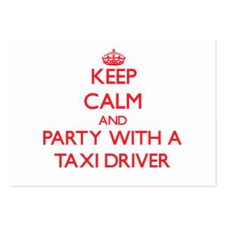 Guarde la calma y vaya de fiesta con un taxista tarjetas de visita grandes