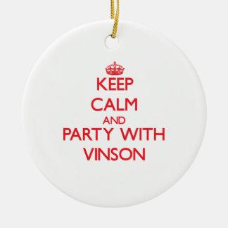 Guarde la calma y vaya de fiesta con Vinson Adorno Navideño Redondo De Cerámica