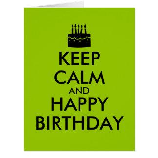 Guarde la calma y vaya de fiesta en personalizable tarjeta de felicitación grande
