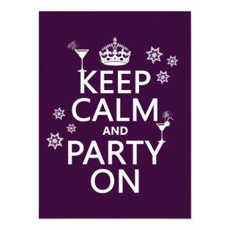 Guarde la calma y vaya de fiesta encendido - todos invitación 13,9 x 19,0 cm