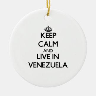 Guarde la calma y viva en Venezuela Ornamentos De Navidad