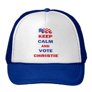 Guarde la calma y vote a Christie Gorros Bordados