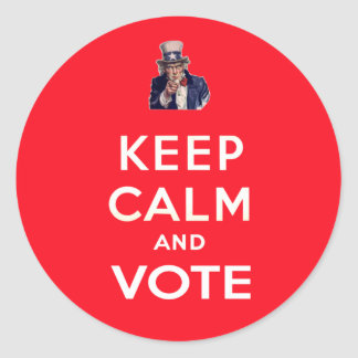 Guarde la calma y vote pegatina redonda