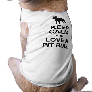Guarde la camiseta tranquila del perro del pitbull camisas de mascota