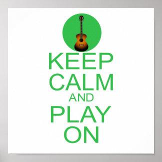 Guarde la guitarra tranquila de la parodia póster
