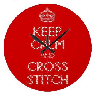 Guarde la puntada tranquila y cruzada reloj redondo grande