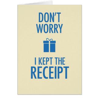 Guardé la tarjeta de felicitación del recibo