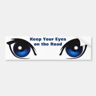 Guarde sus ojos en la pegatina para el parachoques pegatina para coche