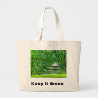 Guárdelo bolso de ultramarinos verde bolsa tela grande