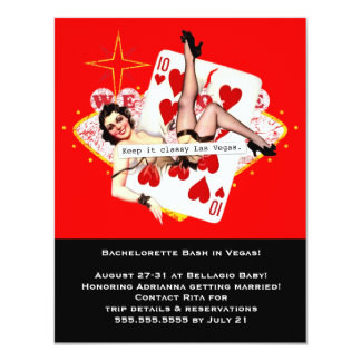 Guárdelo Las Vegas con clase Bachelorette Invitación 10,8 X 13,9 Cm