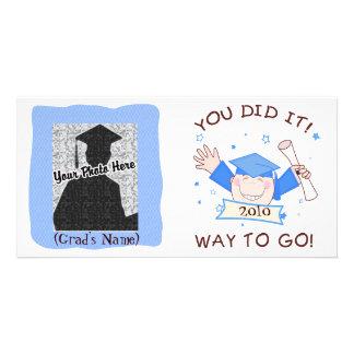 Guardería graduada del muchacho/tarjeta preescolar plantilla para tarjeta de foto