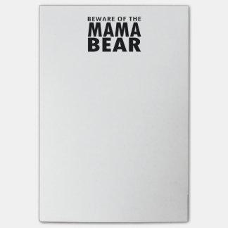 Guárdese de las notas de post-it de mamá Bear