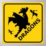Guárdese de señal de peligro de los dragones impresiones