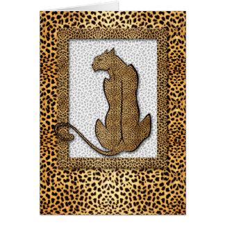 Guepardo en espacio en blanco de oro del estampado tarjeta pequeña