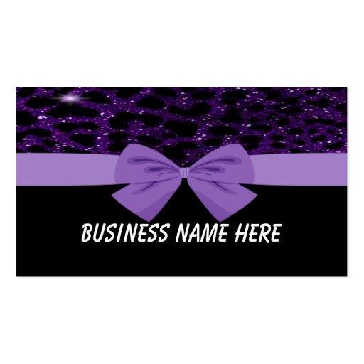 Guepardo púrpura del brillo con la tarjeta de visi tarjetas de visita