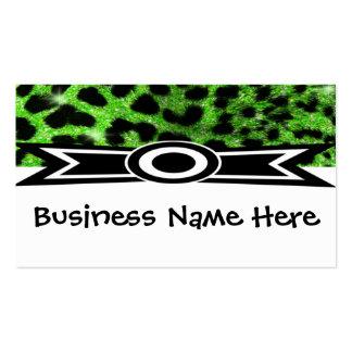 Guepardo verde del brillo con la tarjeta de visita