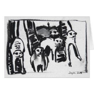 Guerra-baile de Meerkats - tarjeta del arte