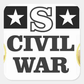 guerra civil blanca y azul roja pegatina cuadrada