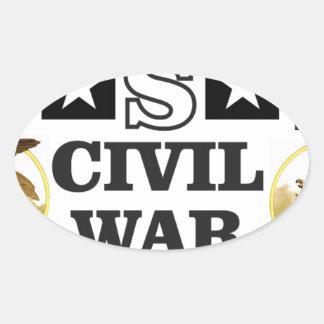 guerra civil blanca y azul roja pegatina ovalada
