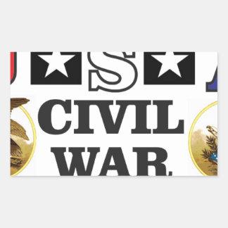 guerra civil blanca y azul roja pegatina rectangular