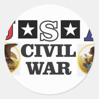 guerra civil blanca y azul roja pegatina redonda