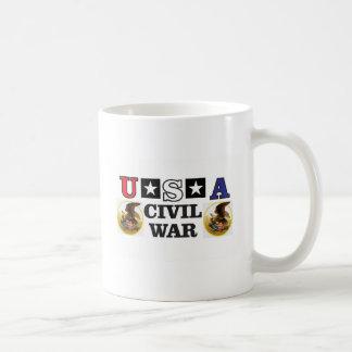 guerra civil blanca y azul roja taza de café