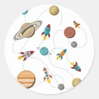 Guerras de la luna del aterrizaje del espacio de pegatina redonda