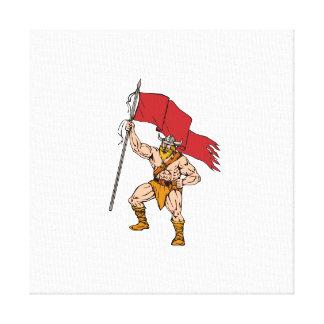 Guerrero de Viking Brandishing la bandera roja Lienzo