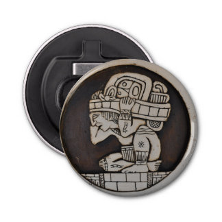 Guerrero maya antiguo abrebotellas redondo