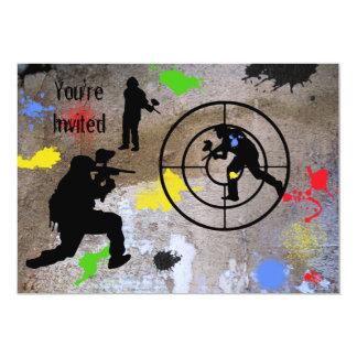 Guerrilla urbana Paintball invitado Invitación 12,7 X 17,8 Cm