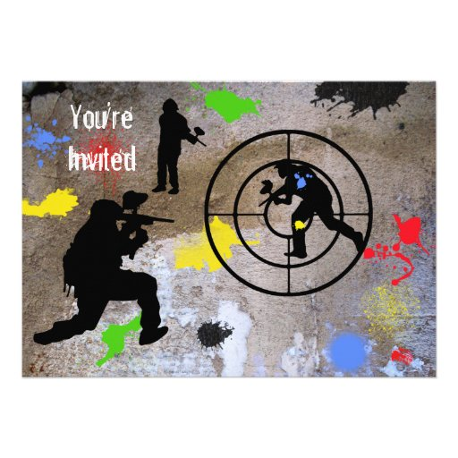 Guerrilla urbana Paintball le invitan Invitaciones Personales