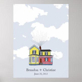 Guestbook casero flotante colorido de la huella póster