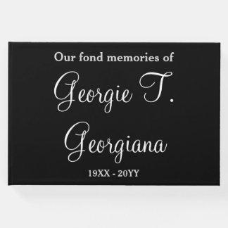Guestbook conmemorativo fúnebre elegante y libro de invitados