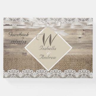 Guestbook de madera de la arpillera del cordón libro de invitados